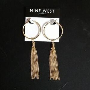 Nine West Gold Hoop Tassle Earrings
